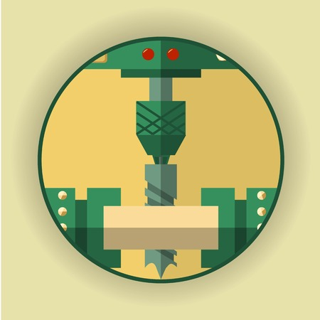 industrial hole: Round, icon, symbol of the drilling process. The emblem for the company of heavy industry. Method of processing of various metals, plastics and wood. Vector Illustration Illustration