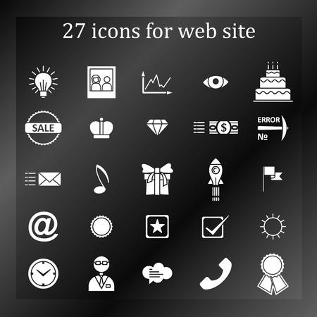 27: a set of 27 icons, badges, symbols