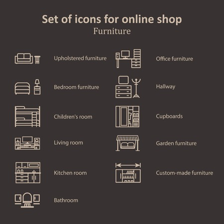 garden furniture: a set of pictures of different furniture partitions online store. Icons, symbols