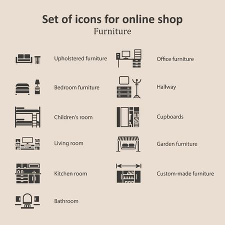 garden furniture: a set of pictures of different furniture partitions online store.