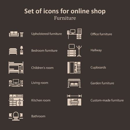 chipboard: a set of pictures of different furniture partitions online store.