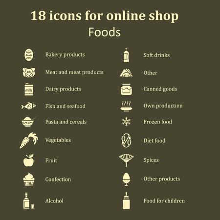 Set di icone di cibo diverso per la sezione cibo nel negozio on-line. alimenti Catalogo di tutti i tipi. sagome bianche su sfondo marrone. illustrazione vettoriale