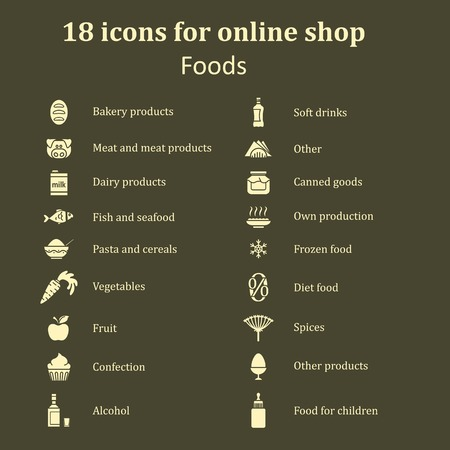 frozen meat: Set of icons of different food for the food section in the online store. Catalog foods of all kinds. White silhouettes on a brown background. Vector Illustration