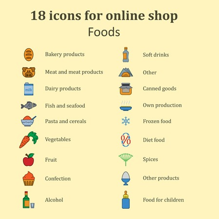 Set of icons of different food for the food section in the online store. Catalog foods of all kinds. Color images. Vector Illustration