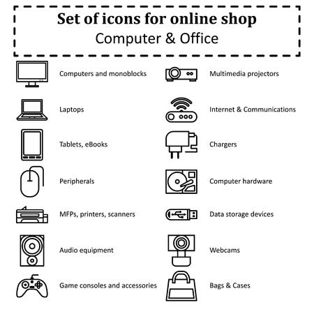 Set of icons of various computer equipment for sections of online stores. Contours Icon. Vector Illustration Çizim