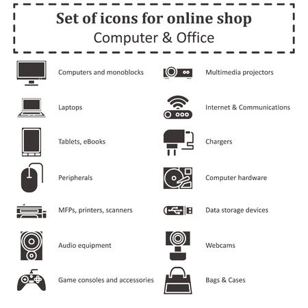 Set of icons of various computer equipment for sections of online stores. Vector Illustration