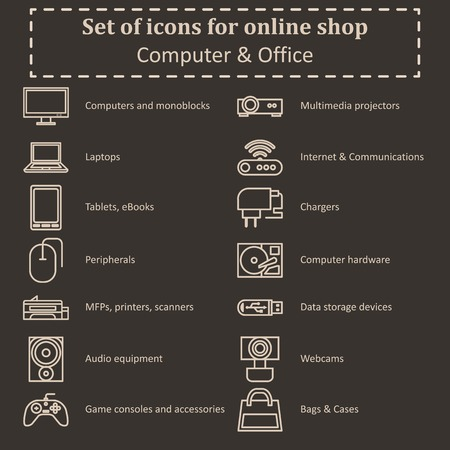 Set of icons of various computer equipment for sections of online stores. Contours Icon. Vector Illustration 일러스트