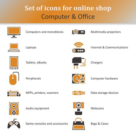 Set of icons of various computer equipment for sections of online stores. Colored symbols. Vector Illustration