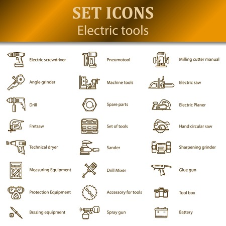 brazing: Icons of different electric tools for sections of goods in an online store.