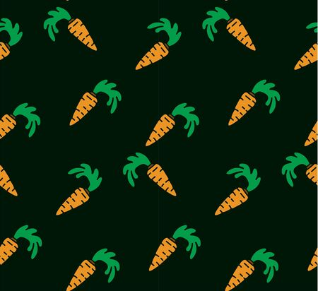 carotene: Seamless bright background. Orange carrots on a green background.