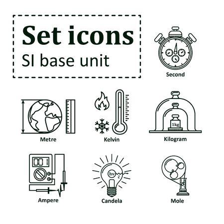 Icon set on basic unit Illustration