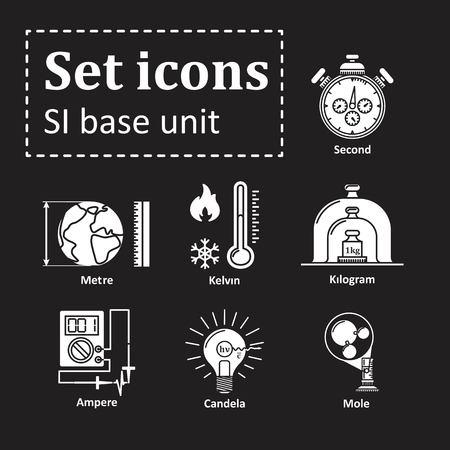 denote: Icon set on basic unit Illustration