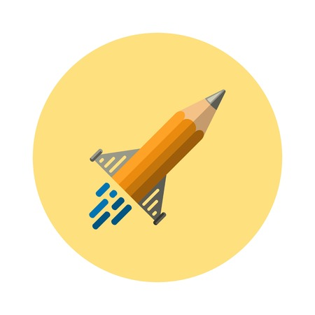 pencil icon in the form of flying missiles. Illustration Vector