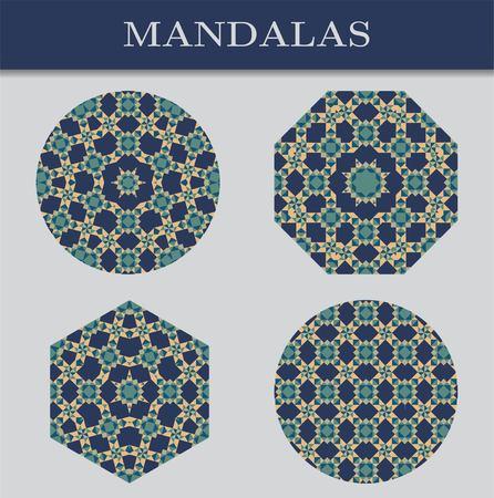 Set of four mandalas. Cool colors, geometric pattern.