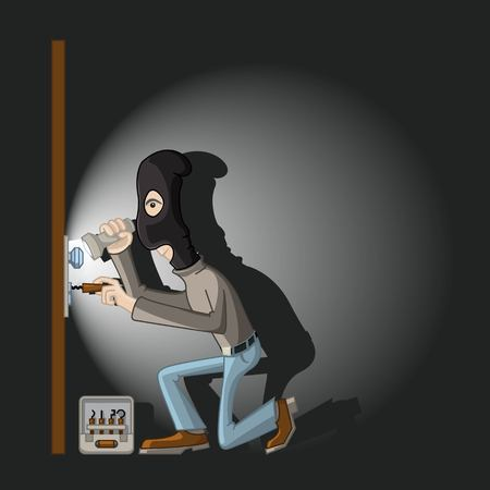 robberies: a thief in a black mask with master keys in the door lock breaks.