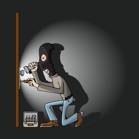 burglary: a thief in a black mask with master keys in the door lock breaks.