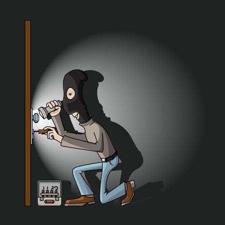 un voleur dans un masque noir avec des touches de maître dans les pauses de verrouillage de porte. Vecteurs
