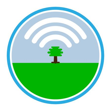 tree produces oxygen in the form of a cloud icon Wifi.