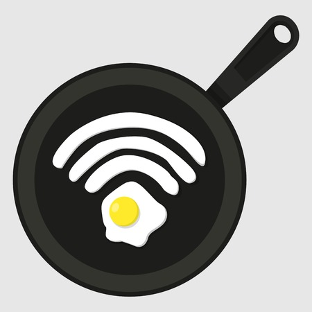 Scrambled eggs for breakfast. Fried egg in a frying pan in the form of Wifi icon.