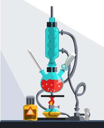 reflux: Installation for carrying out syntheses under reflux. During synthesis occurs condensing evaporated fluid. Illustration