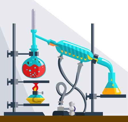 Installation pour la distillation et la purification des liquides. Distillation est due à différents liquides temepratur d'ébullition.