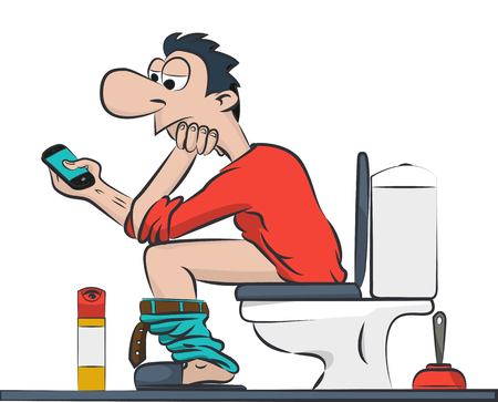 a man sitting on the toilet with your phone. 向量圖像