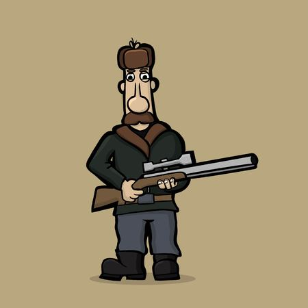 Caricature of mustachioed hunter with a sniper rifle. Illustration Vector