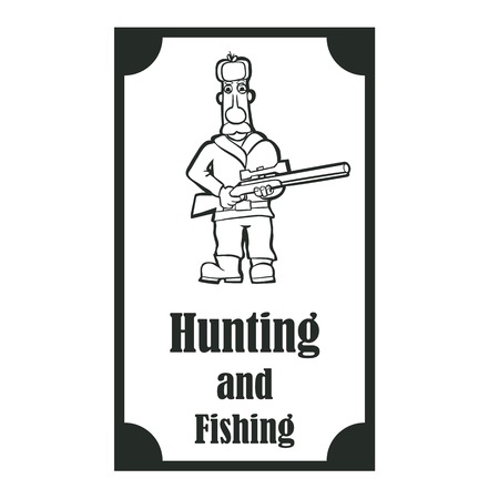 Logo for the company, which is engaged hunting and fishing. The mustachioed hunter with a sniper rifle. Illustration Vector Çizim