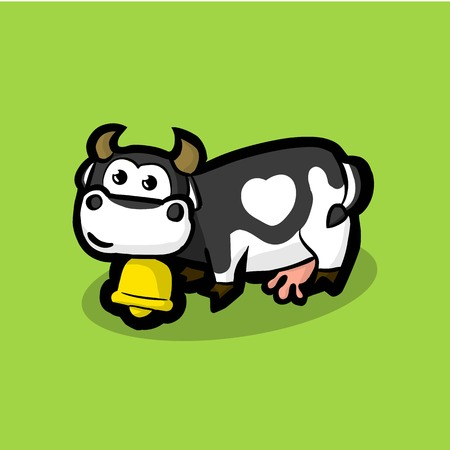 cute cow with a golden bell around on neck on a green meadow. Black and white cow with a white spot in the form of heart on the side. Illustration Vector Çizim