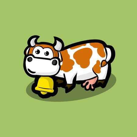 cute cow with a golden bell around on neck on a green meadow. White cow with red spots on her side. Illustration Vector