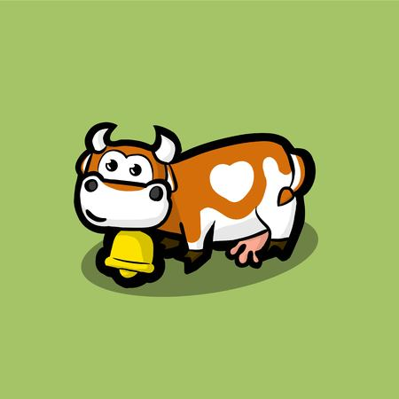 cute cow with a golden bell around on neck on a green meadow. Red cow with a white spot in the form of heart on the side. Illustration Vector