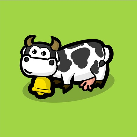 cute cow with a golden bell around on neck on a green meadow. White cow with black spots on their sides. Illustration Vector Çizim