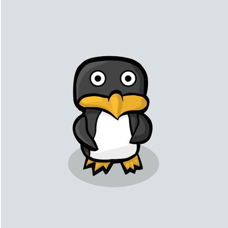 Arctic Penguin stands on a blue ice. Penguin painted in black, white, yellow. Illustration Vector