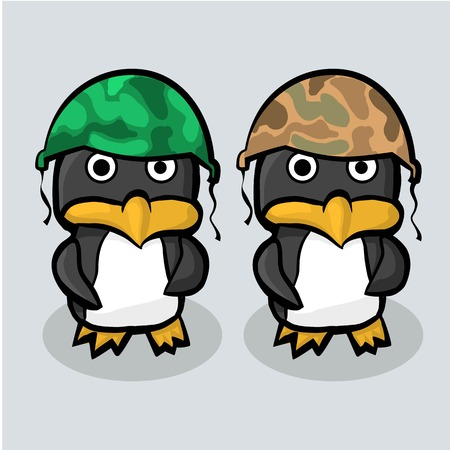 Two penguin in the military helmet standing on blue ice. Illustration Vector 일러스트