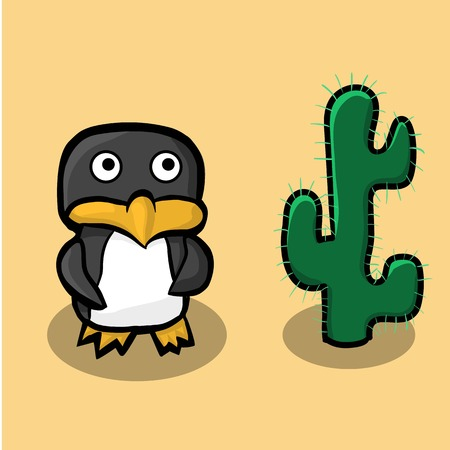 Arctic penguin standing on sand in the desert and is looking at the big green cactus. Illustration Vector