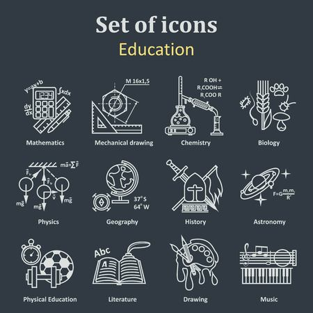 school: Set of icons on a theme school education. 12 academic subjects. Illustration Vector