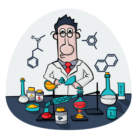 synthesis: Chemist work in a laboratory. Professor conducts synthesis with distillation. Illustration Vector Illustration