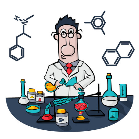 Chemist work in a laboratory. Professor conducts synthesis with distillation. Illustration Vector Çizim