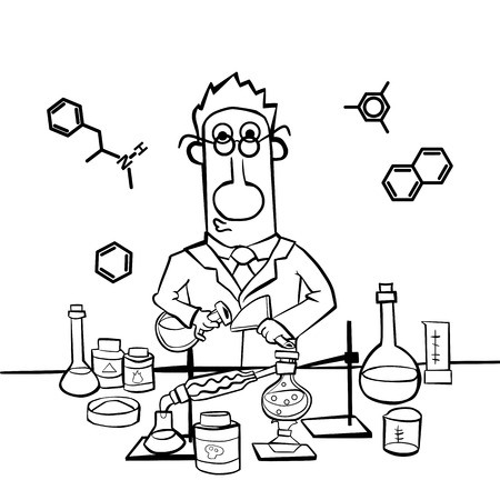 Chemist work in a laboratory. Professor conducts synthesis with distillation. Only the contour of the picture. Illustration Vector