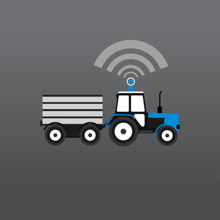 Blue with a white tractor with a trailer giving out wifi. Vector Illustration Çizim