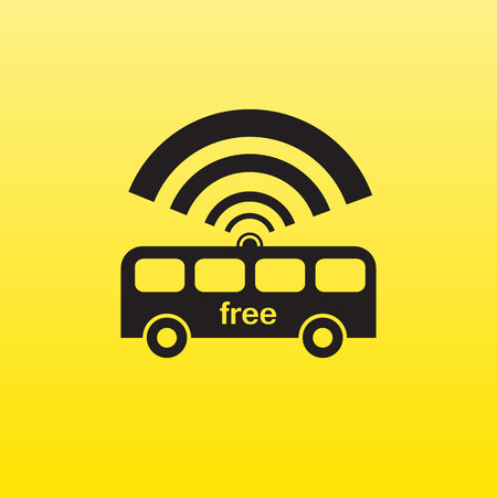Free wifi sign in the bus. Black symbol on a yellow background. illustration Vector