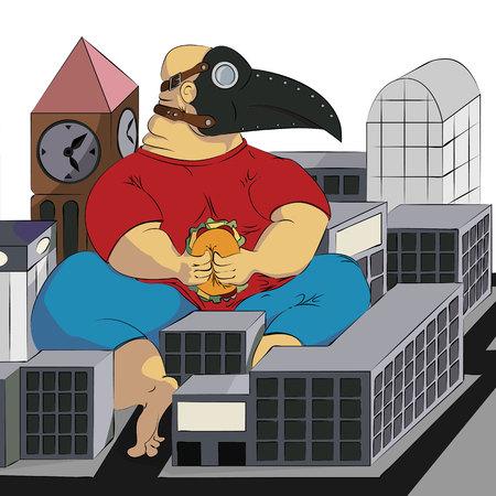 A man in a plague mask sits and eats a burger. illustration Vector