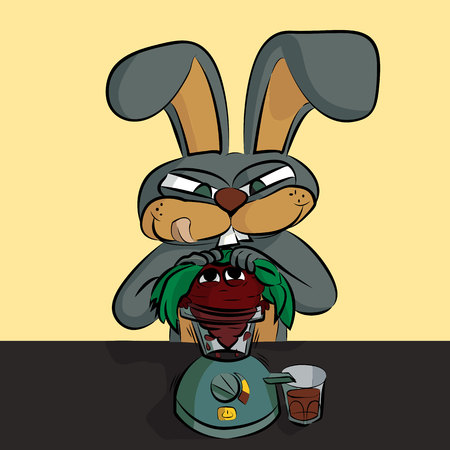 A gray hare makes juice from beets. A caricature of vegetarians. Vector Illustration Çizim