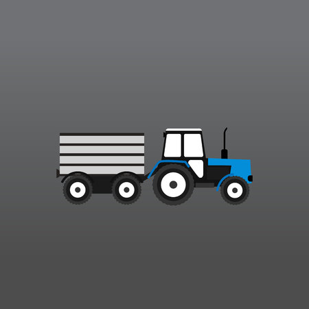 Blue and white tractor with a gray trailer on a gray gradient background. Vector Illustration