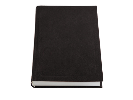 Closed beautiful isolated thick book with a black cover on a white background. A photo