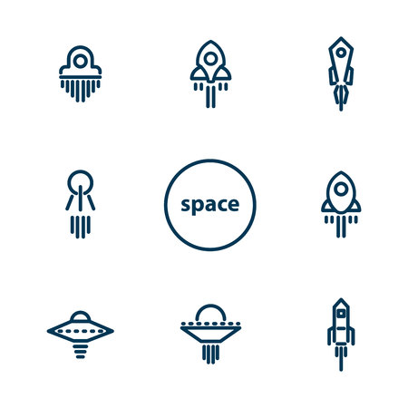 Set of icons on the theme of space and spaceships. Illustration Vector 일러스트
