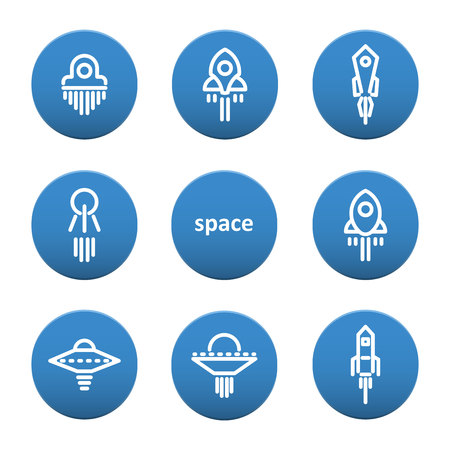 Set of icons on the theme of space and spaceships. Illustration Vector Çizim
