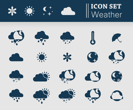Badges of all kinds of precipitation for the weather section of the site. Illustration Vector
