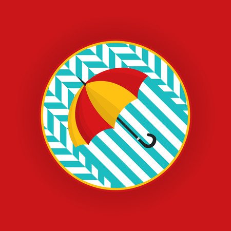 Image of a red yellow umbrella on a blue geometric pattern. illustration Vector