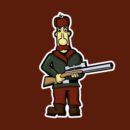 Sticker of the mustachioed hunter with a gun. Illustration Vector